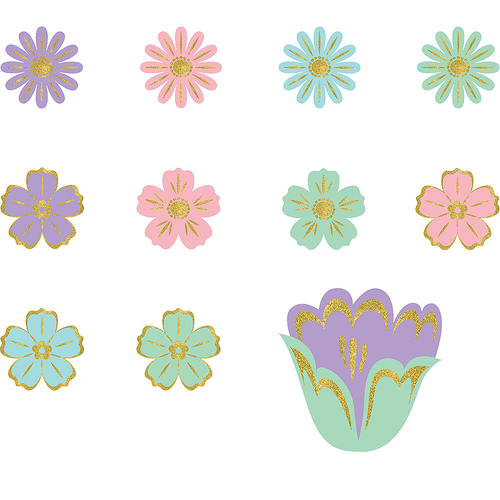 Glitter Pastel Spring Flower Cutouts 50ct Image #1