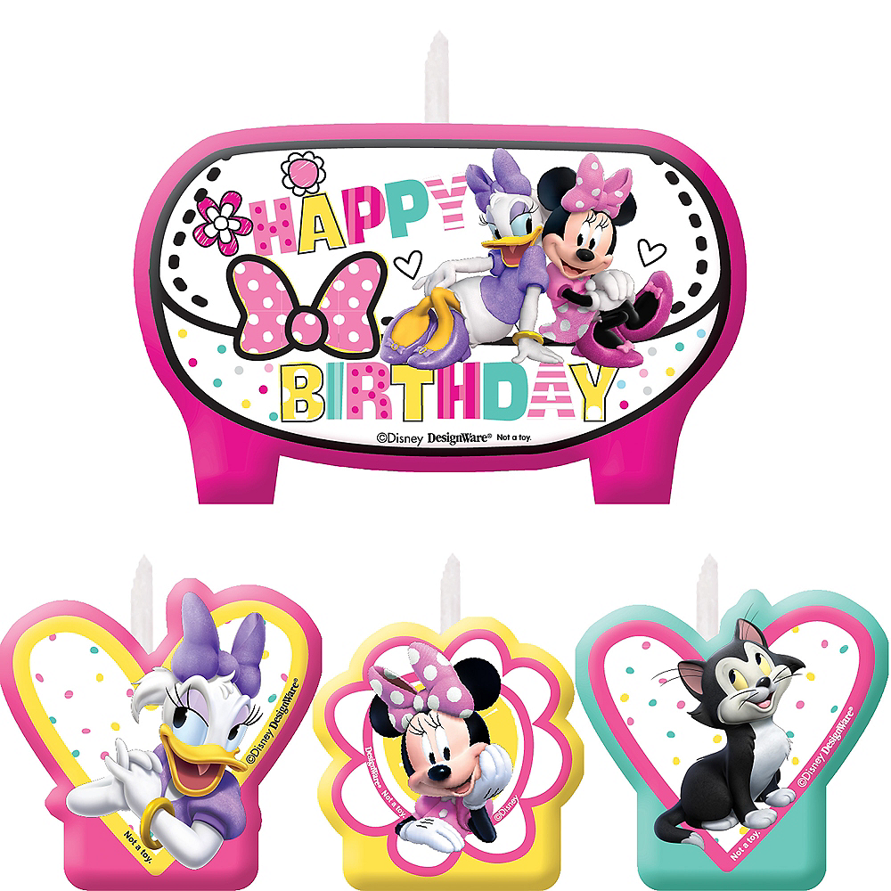 Minnie Mouse Birthday Candles 4ct Image 1