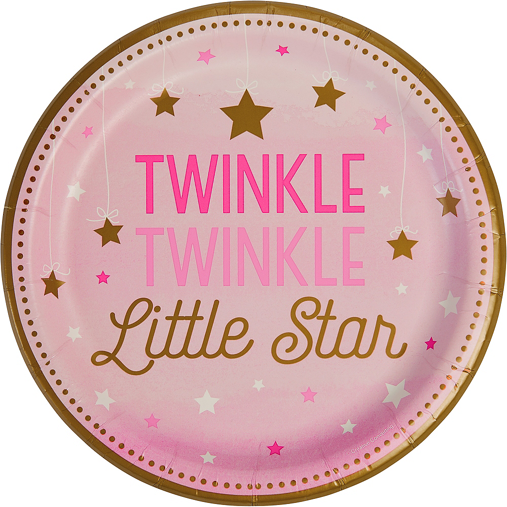Pink Twinkle Twinkle Little Star Lunch Plates 8ct Image #1
