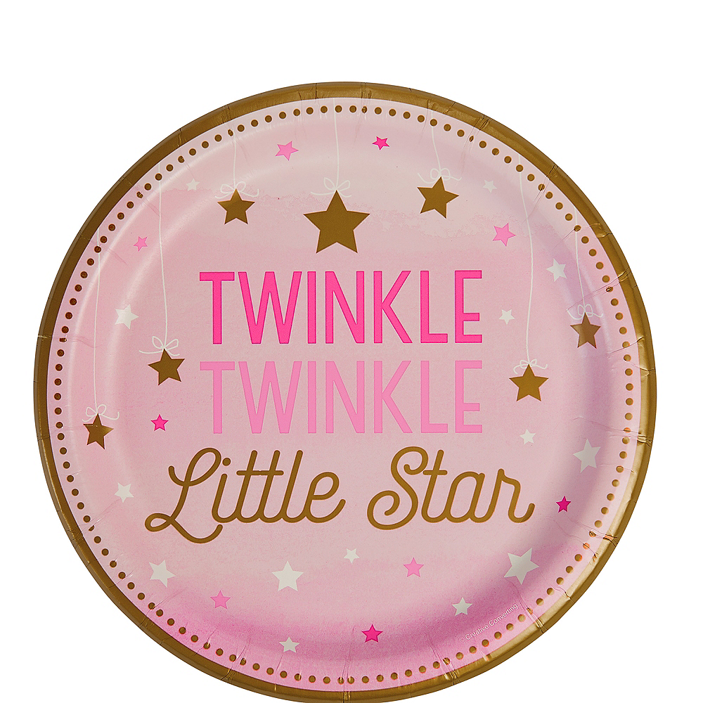 Nav Item for Pink Twinkle Twinkle Little Star Dessert Plates 8ct Image #1