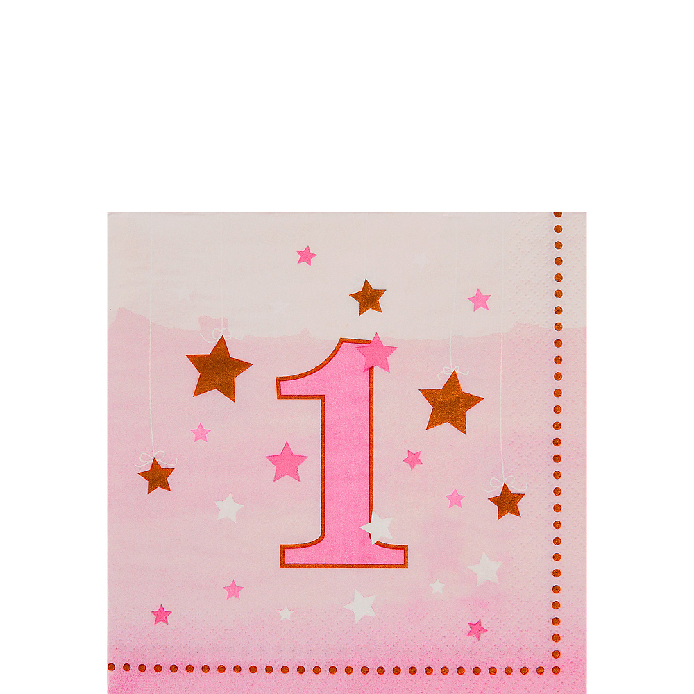 Pink Twinkle Twinkle Little Star 1st Birthday Beverage Napkins 16ct Image #1