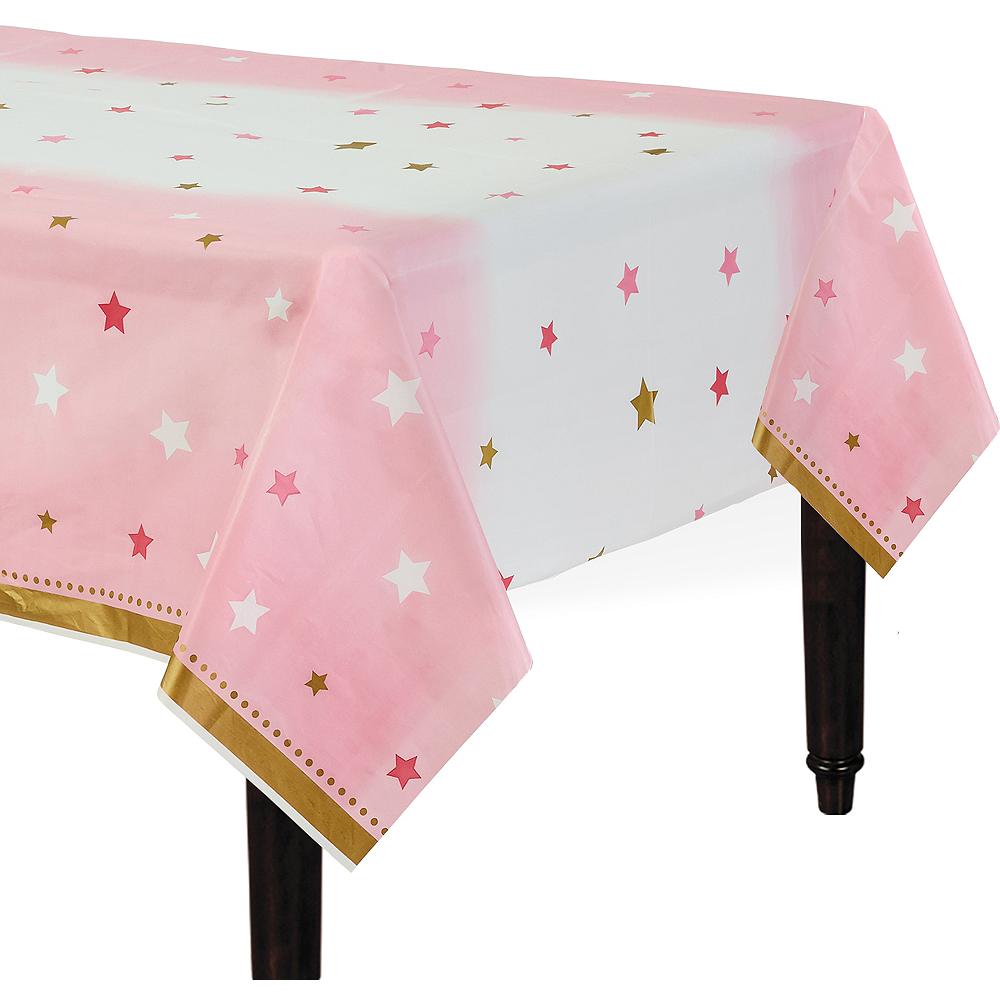 Pink Twinkle Twinkle Little Star Table Cover 54in x 102in | Party City