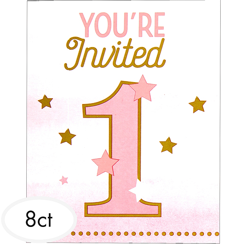 Pink Twinkle Little Star 1st Birthday Invitations 8ct Image 1