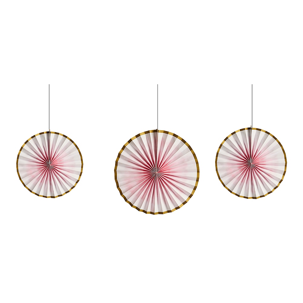Gold & Pink Ombre Paper Fan Decorations 3ct Image #1