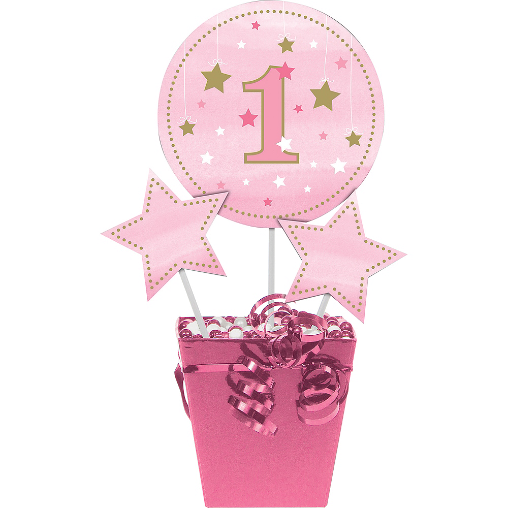Pink Twinkle Twinkle Little Star 1st Birthday Centerpiece Sticks 3ct Image #1