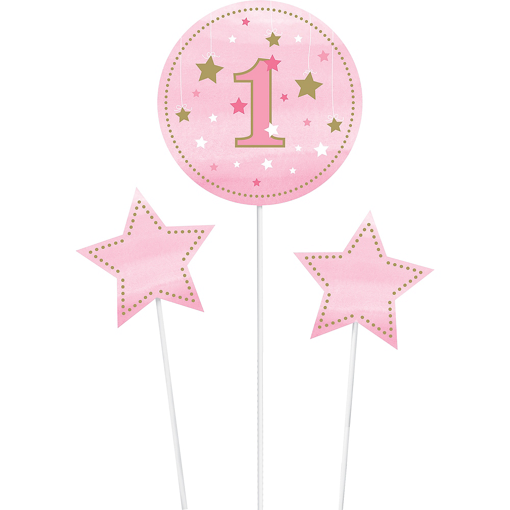 Pink Twinkle Twinkle Little Star 1st Birthday Centerpiece Sticks 3ct Image #2