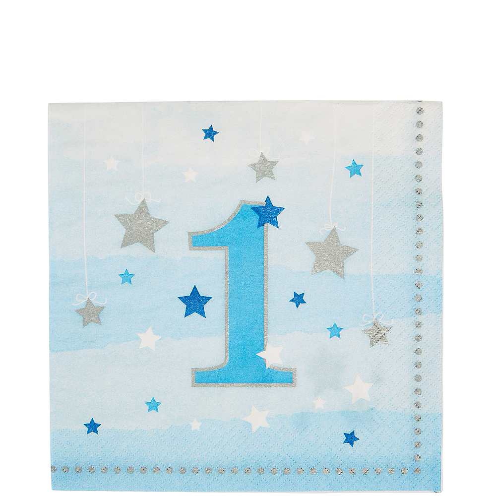 Blue Twinkle Twinkle Little Star 1st Birthday Lunch Napkins 16ct Image #1