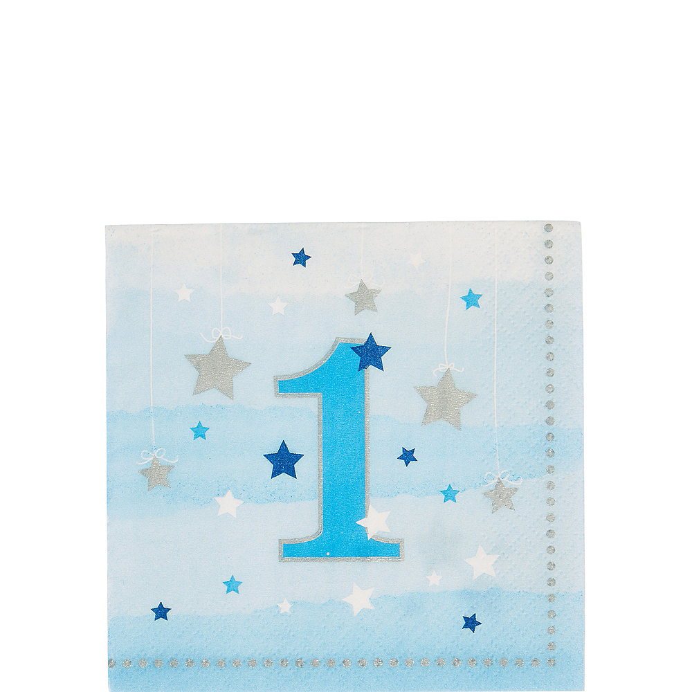 Blue Twinkle Twinkle Little Star 1st Birthday Beverage Napkins 16ct Image #1