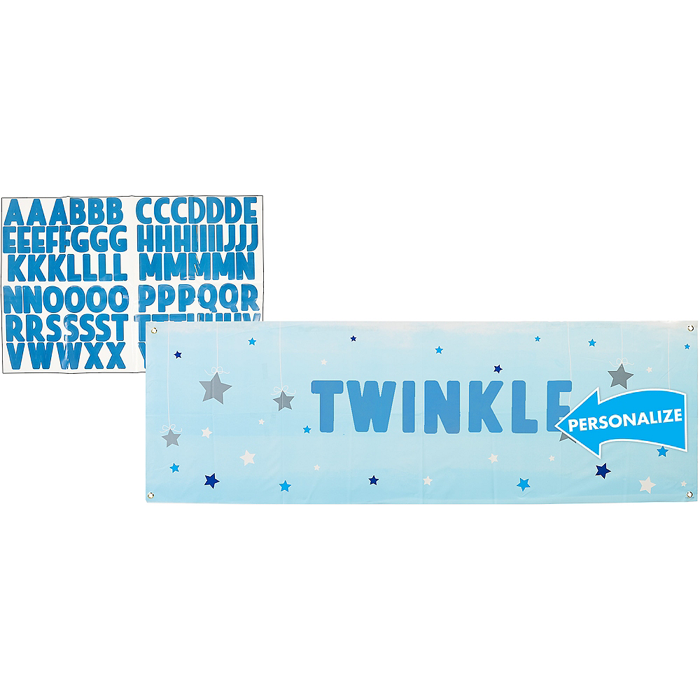 Giant Blue Twinkle Twinkle Little Star Personalized Banner Kit Image #1