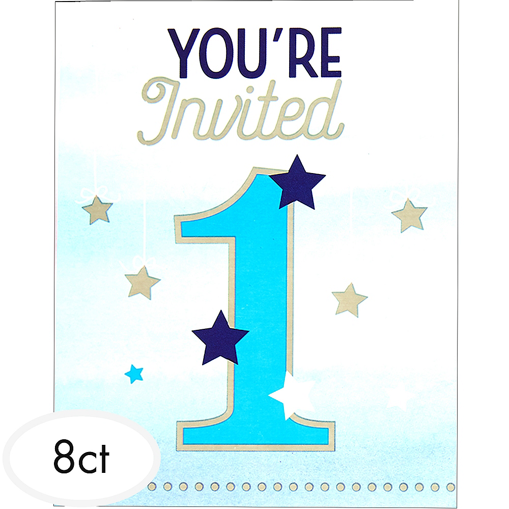 Blue Twinkle Twinkle Little Star 1st Birthday Invitations 8ct Image #1