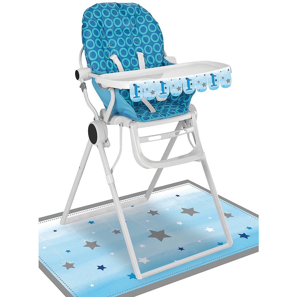 Blue Twinkle Twinkle Little Star 1st Birthday High Chair Decorating Kit 2pc Image #1