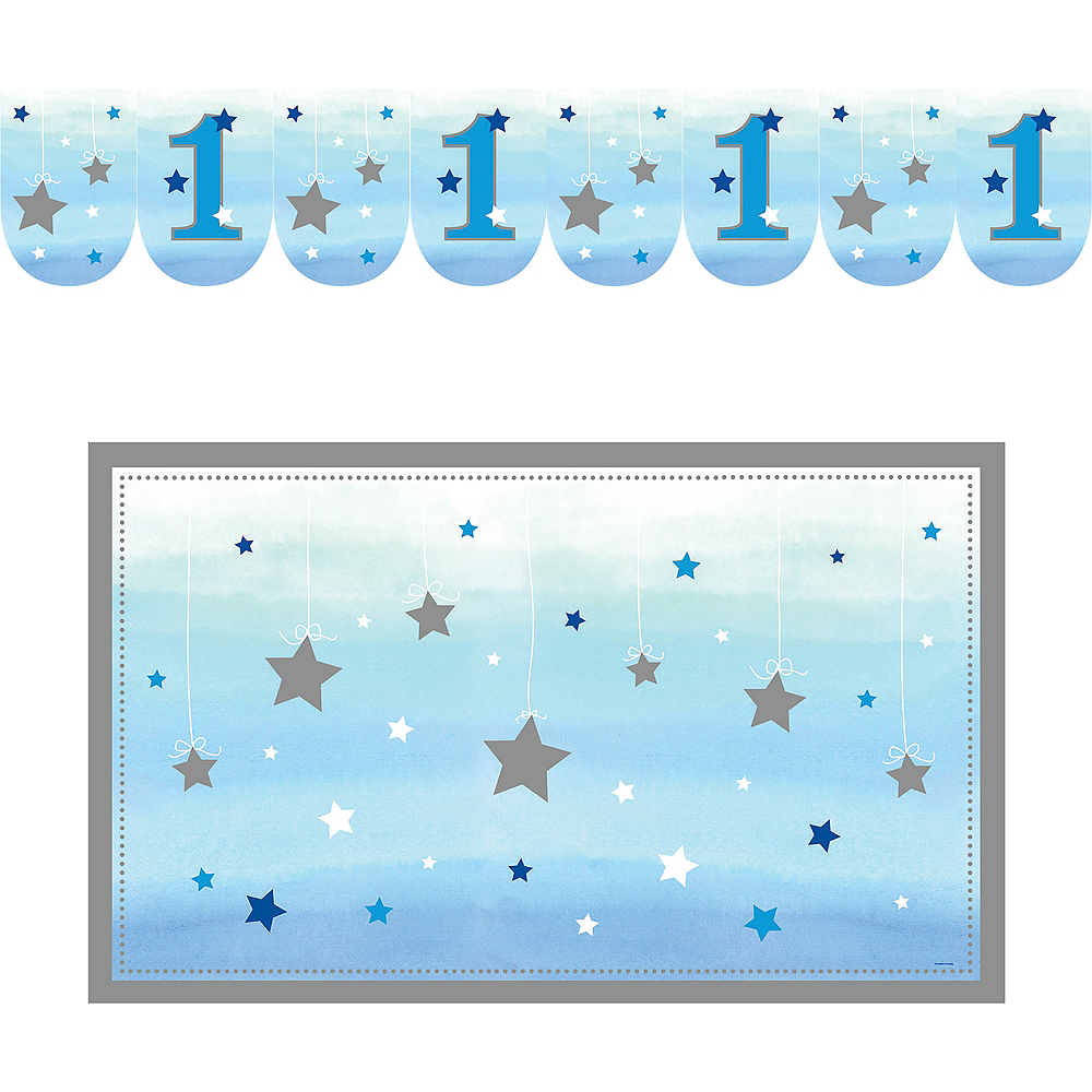 Blue Twinkle Twinkle Little Star 1st Birthday High Chair Decorating Kit 2pc Image #2