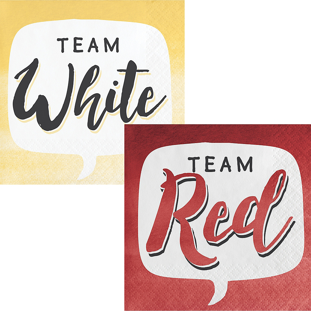 Team Red or Team White Beverage Napkins 16ct Image #1