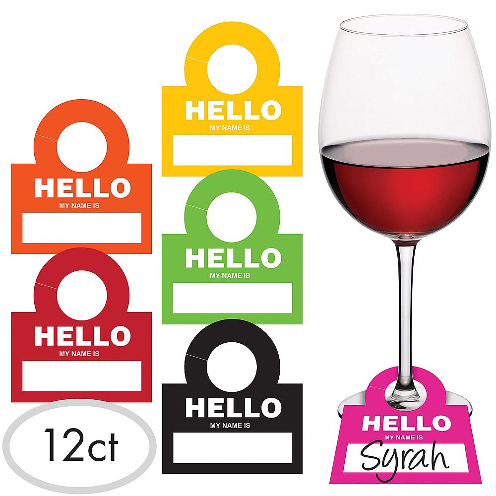 Wine Glass Hello Name Tags 12ct Image #1