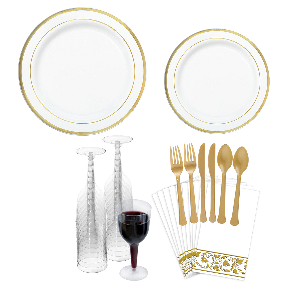 Premium White Gold-Trimmed Tableware Kit for 20 Guests Image #1