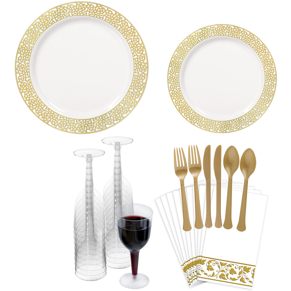 Premium White Gold Lace Border Tableware Kit for 20 Guests Image #1