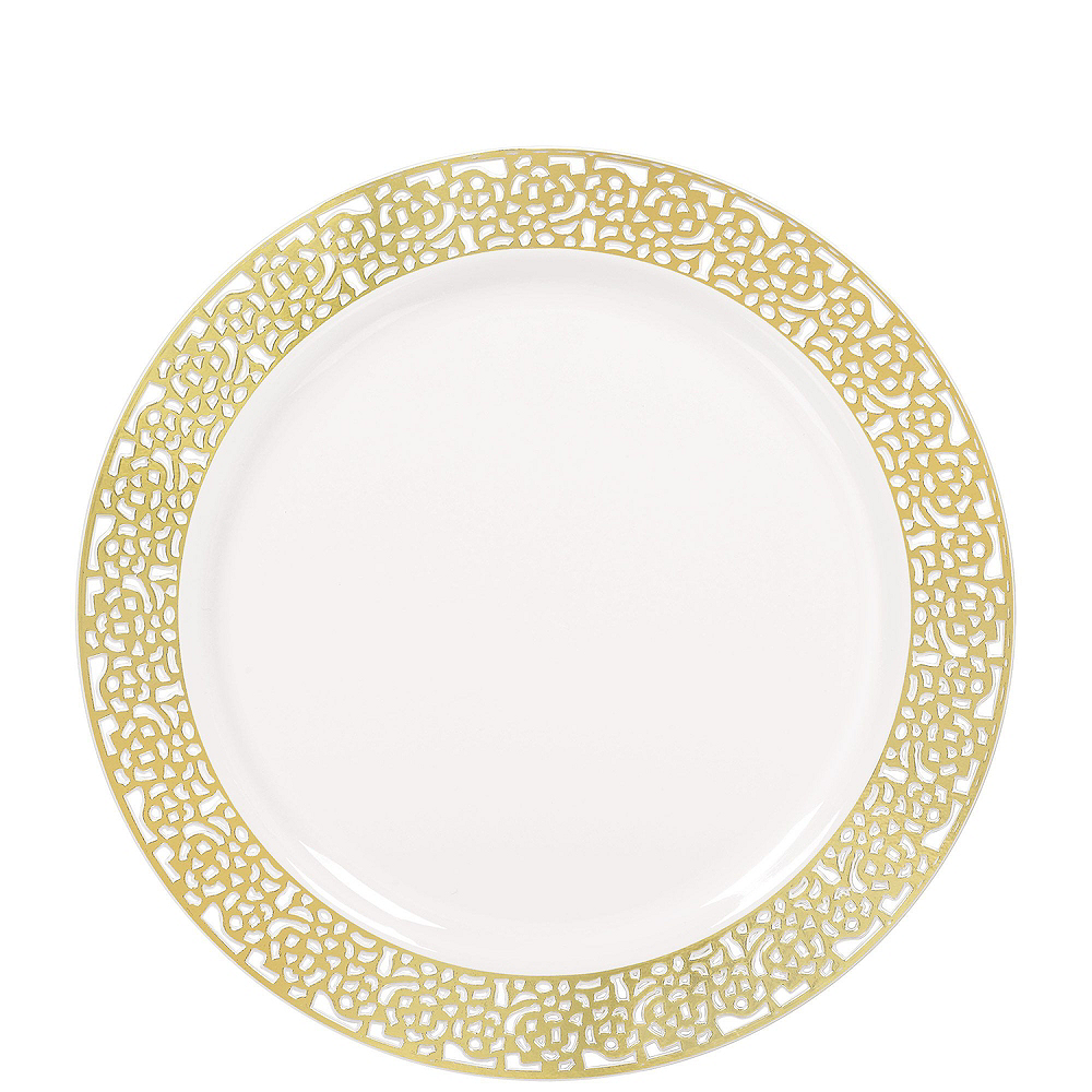 Premium White Gold Lace Border Tableware Kit for 20 Guests Image #2