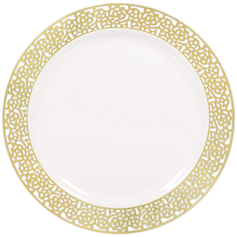 Premium White Gold Lace Border Tableware Kit for 20 Guests Image #3