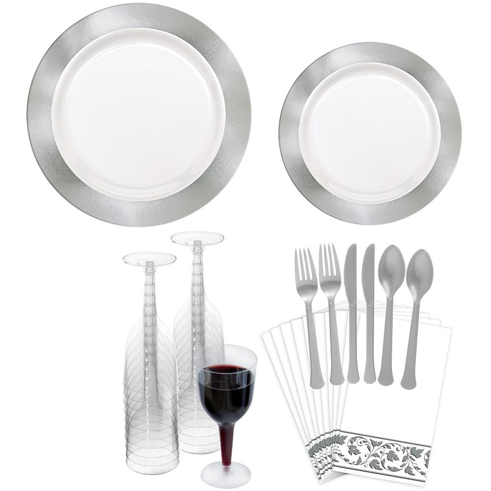 Premium Silver Border Tableware Kit for 20 Guests Image #1