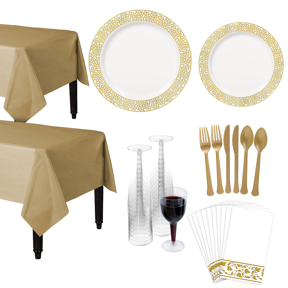 Premium White Gold Lace Border Deluxe Tableware Kit for 20 Guests Image #1