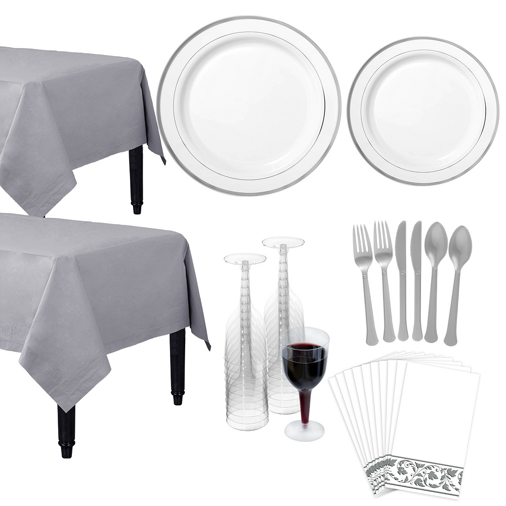 Premium White Silver-Trimmed Deluxe Tableware Kit for 20 Guests Image #1