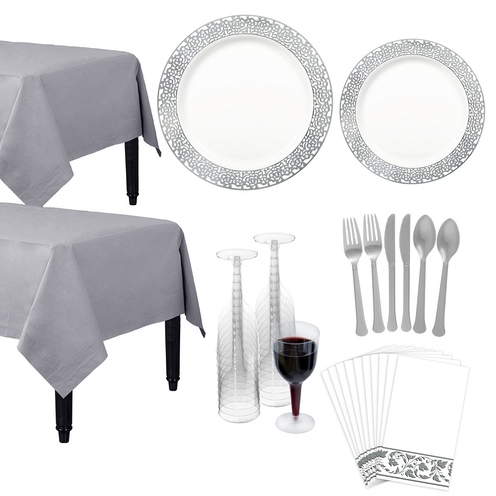 Premium White Silver Lace Border Deluxe Tableware Kit for 20 Guests Image #1