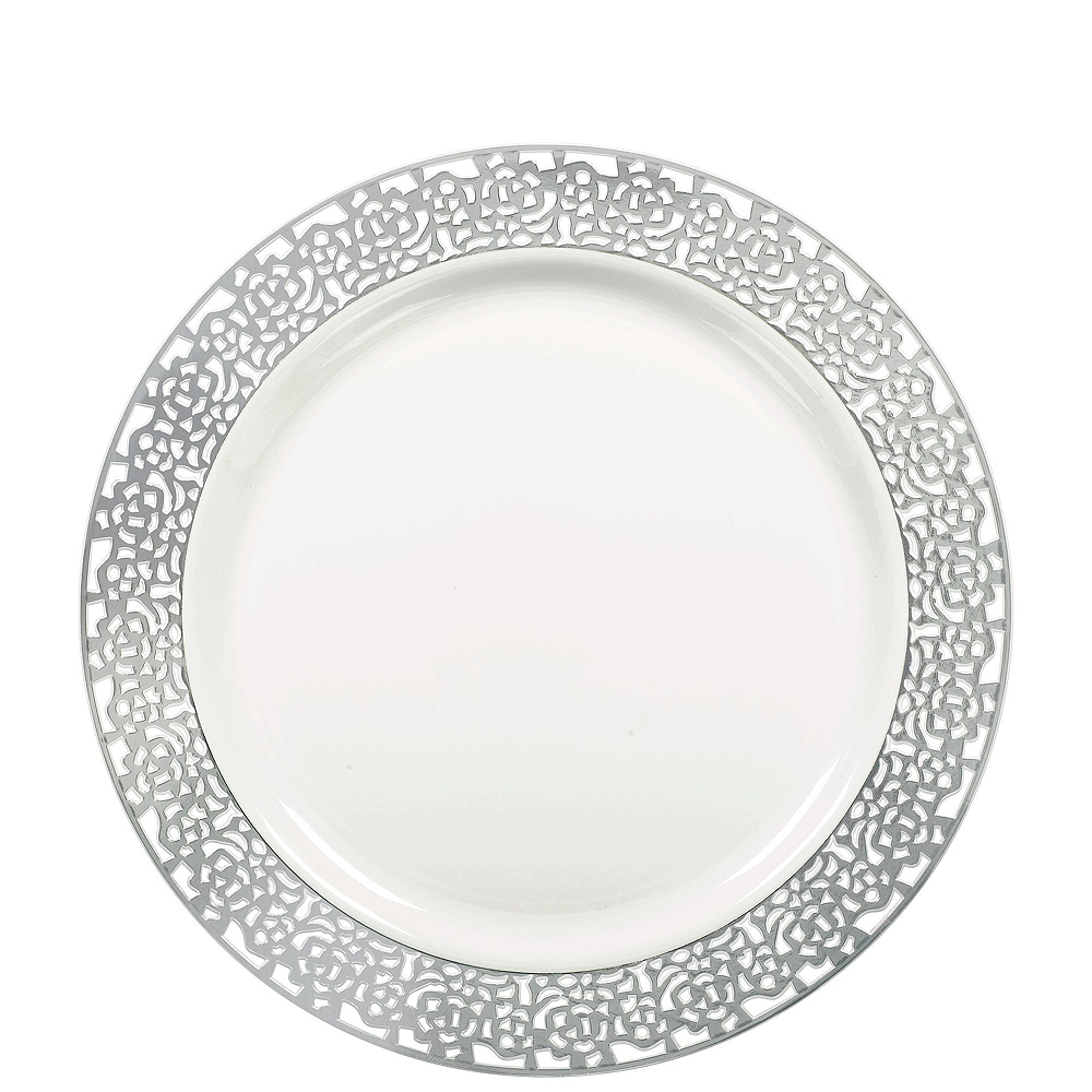 Premium White Silver Lace Border Deluxe Tableware Kit for 20 Guests Image #2