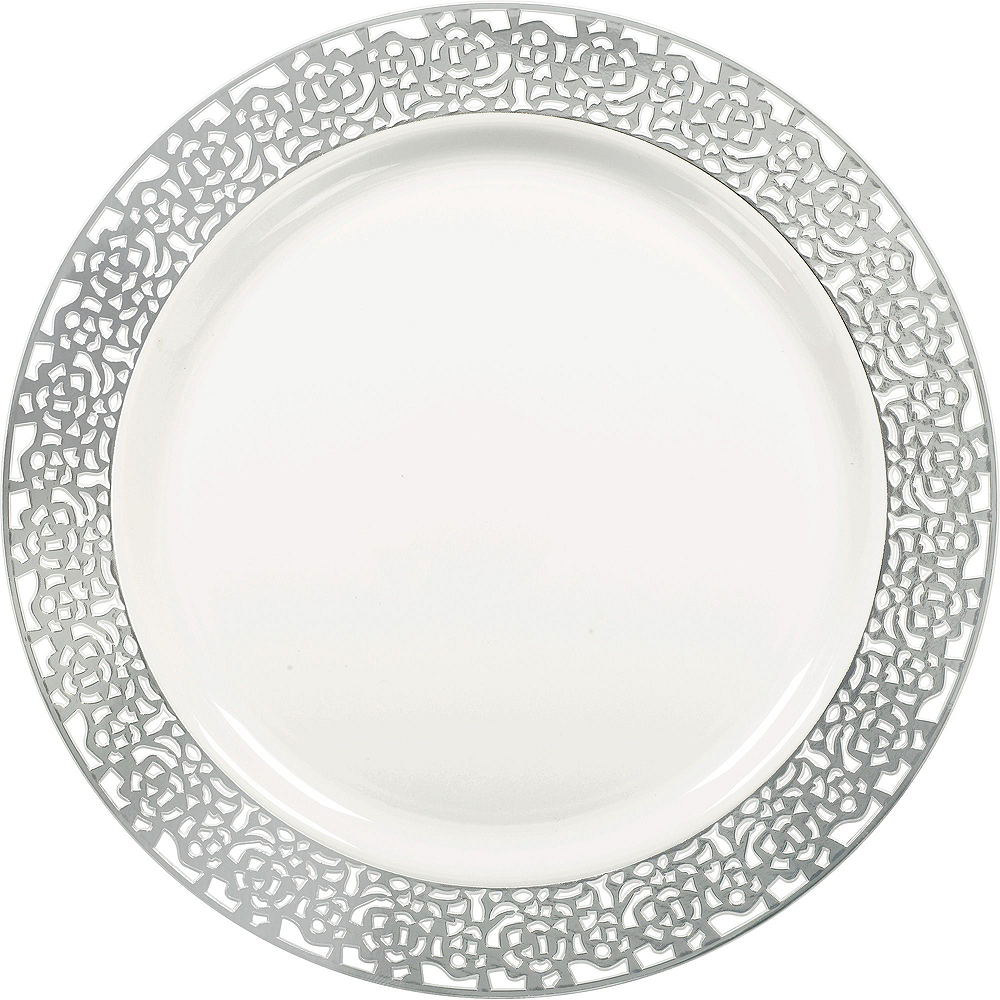 Premium White Silver Lace Border Deluxe Tableware Kit for 20 Guests Image #3