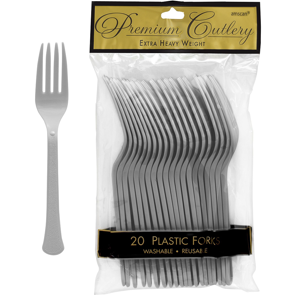 Premium White Silver Lace Border Deluxe Tableware Kit for 20 Guests Image #5