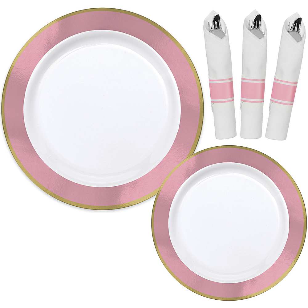 Premium Pink Border & Gold Tableware Kit for 20 Guests Image #1
