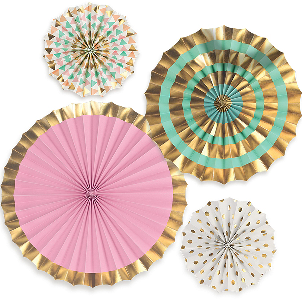Pastel & Gold Paper Fan Decorations 4ct Image #1