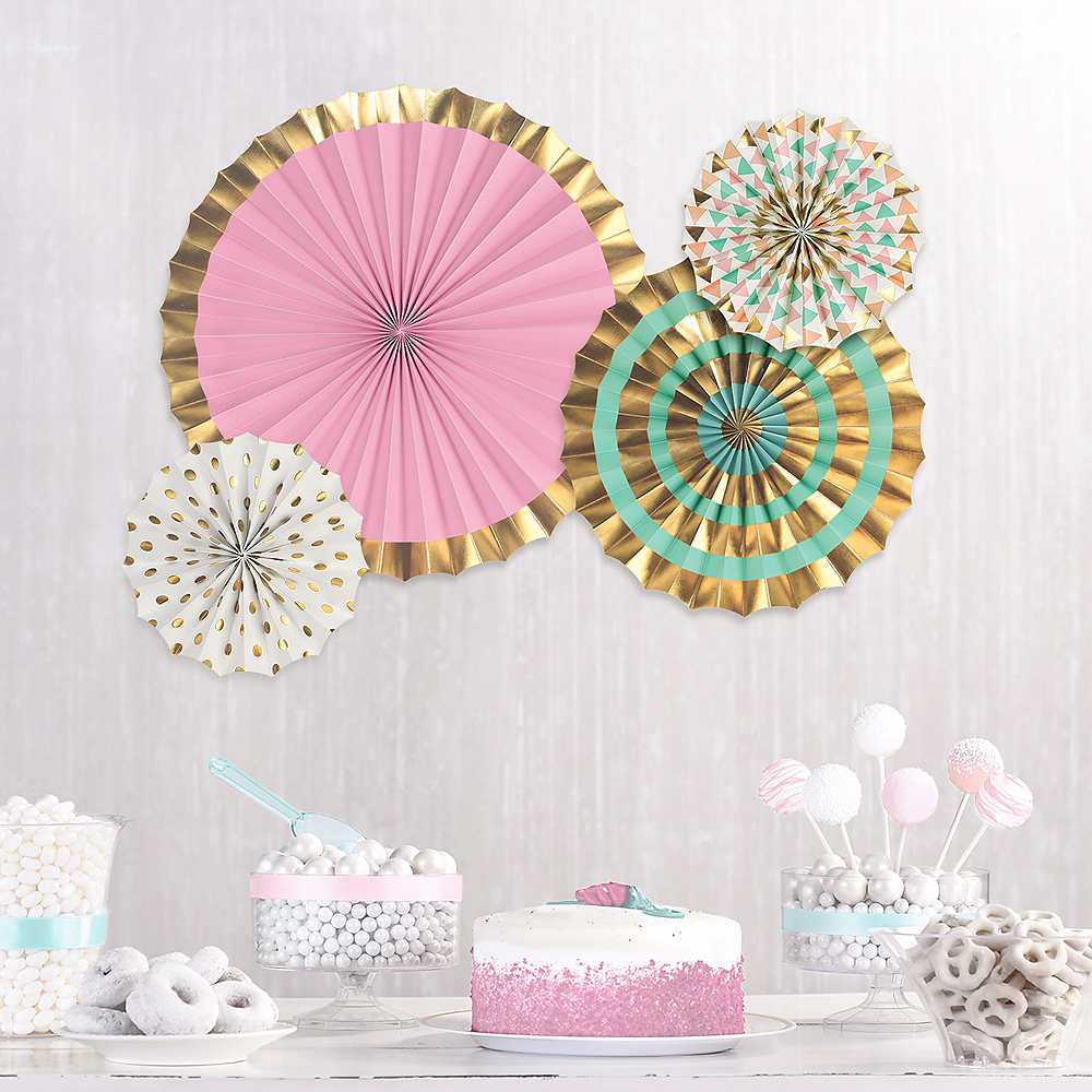 Pastel & Gold Paper Fan Decorations 4ct Image #2