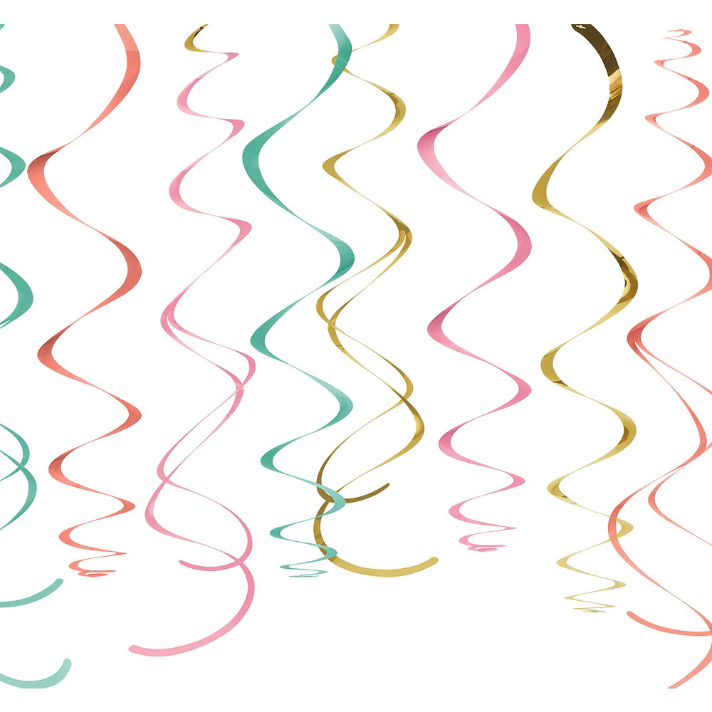 Pastel & Gold Swirl Decorations 12ct Image #1