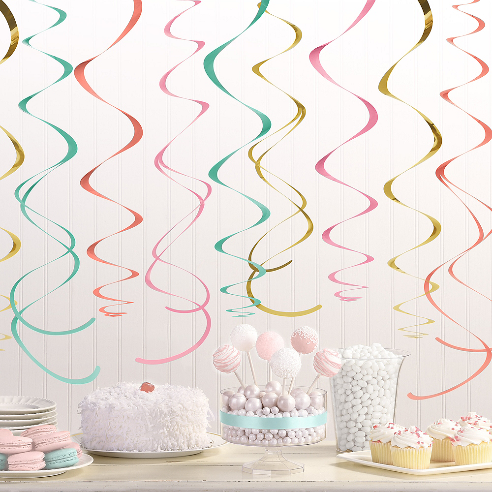 Pastel & Gold Swirl Decorations 12ct Image #2