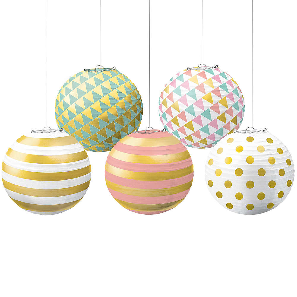Mini Pastel & Gold Paper Lanterns 5ct Image #1