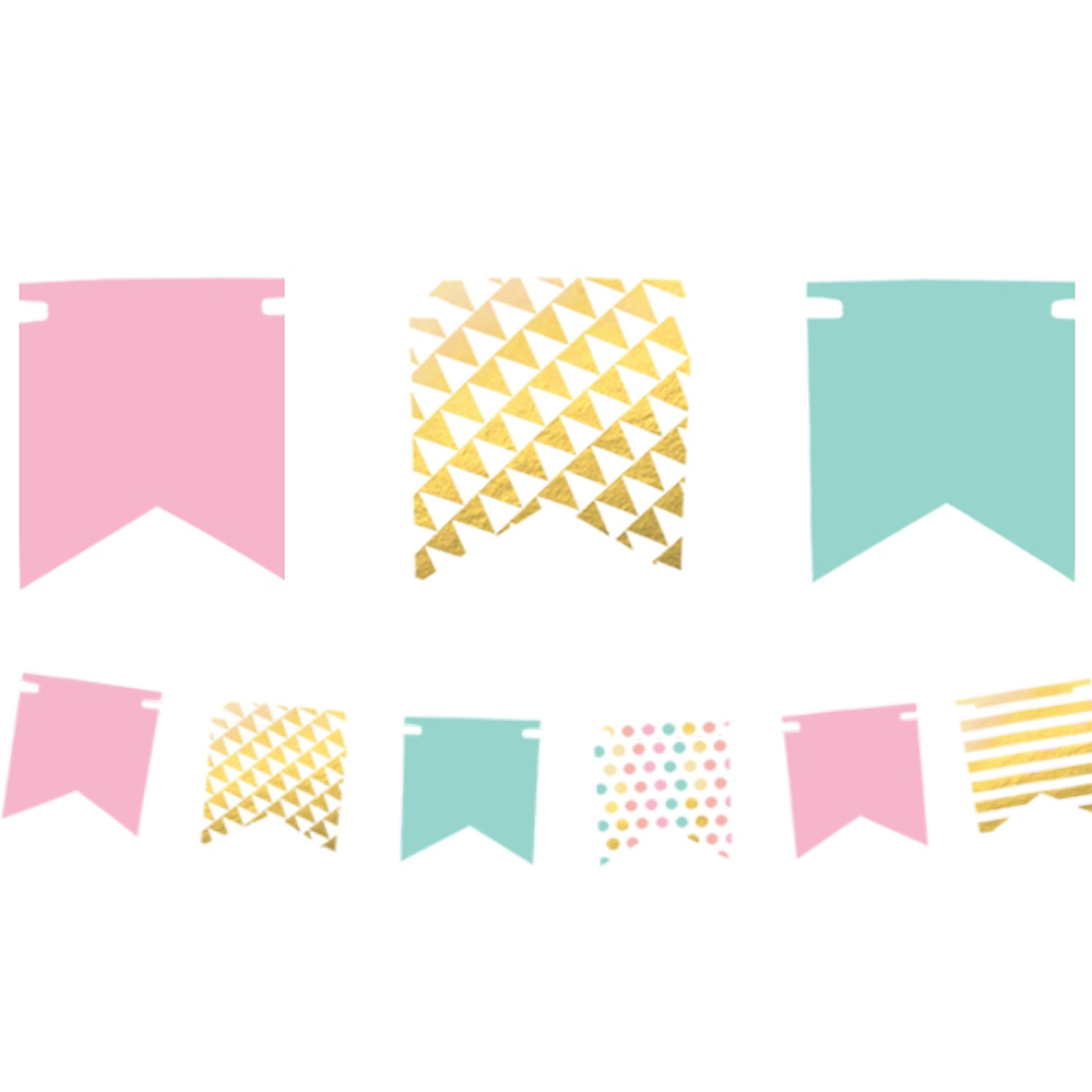 Mini Pastel & Gold Pennant Banner Kit Image #1