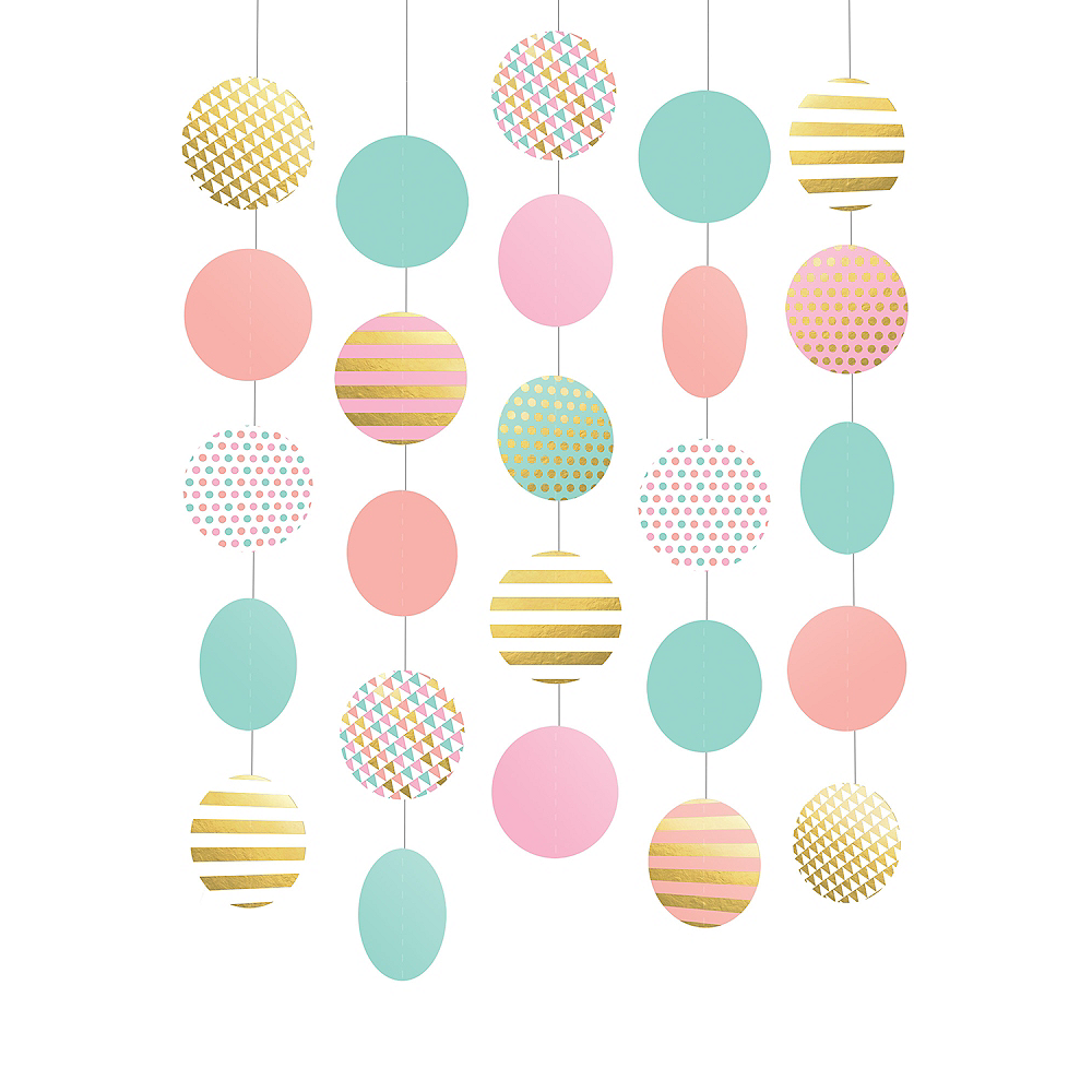 Pastel & Gold String Decorations 5ct Image #1