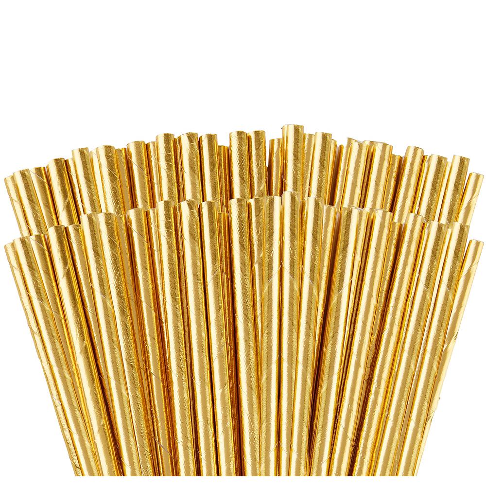 Metallic Gold Paper Straws 144ct Image #1