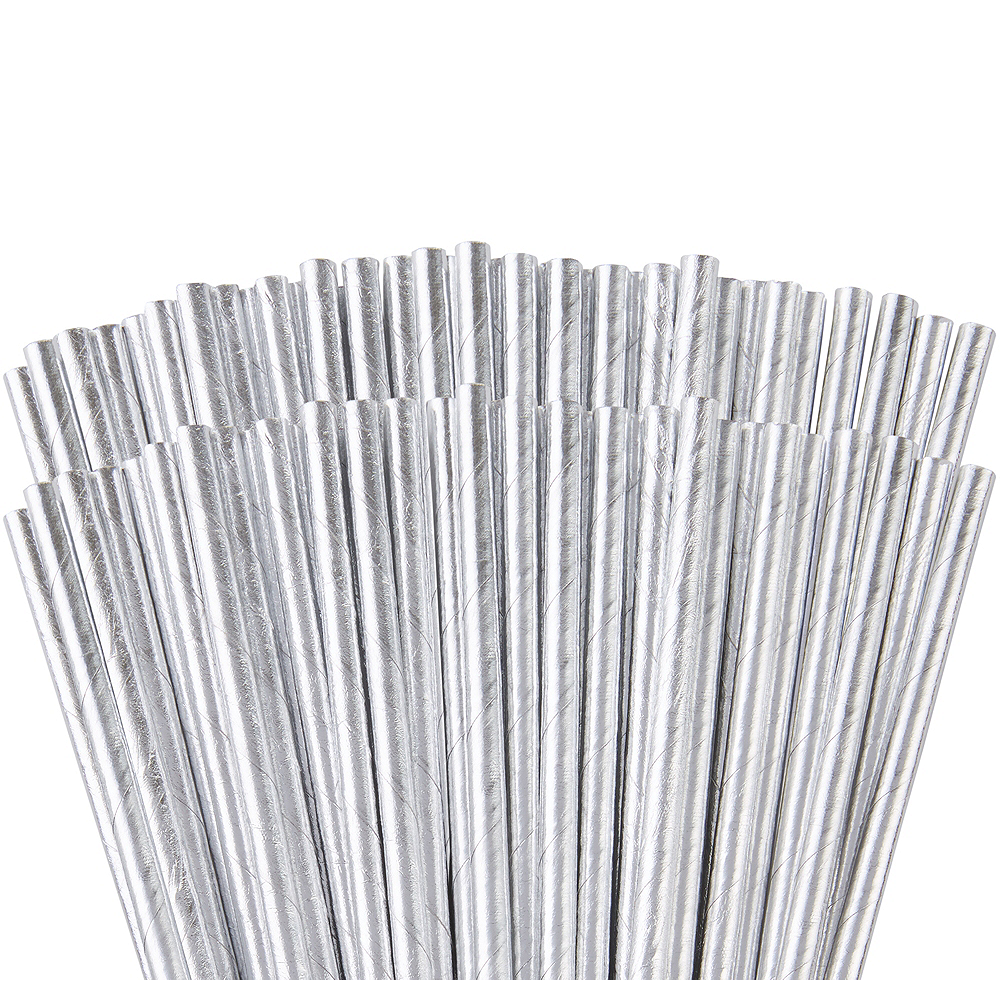 Nav Item for Metallic Silver Paper Straws 144ct Image #1