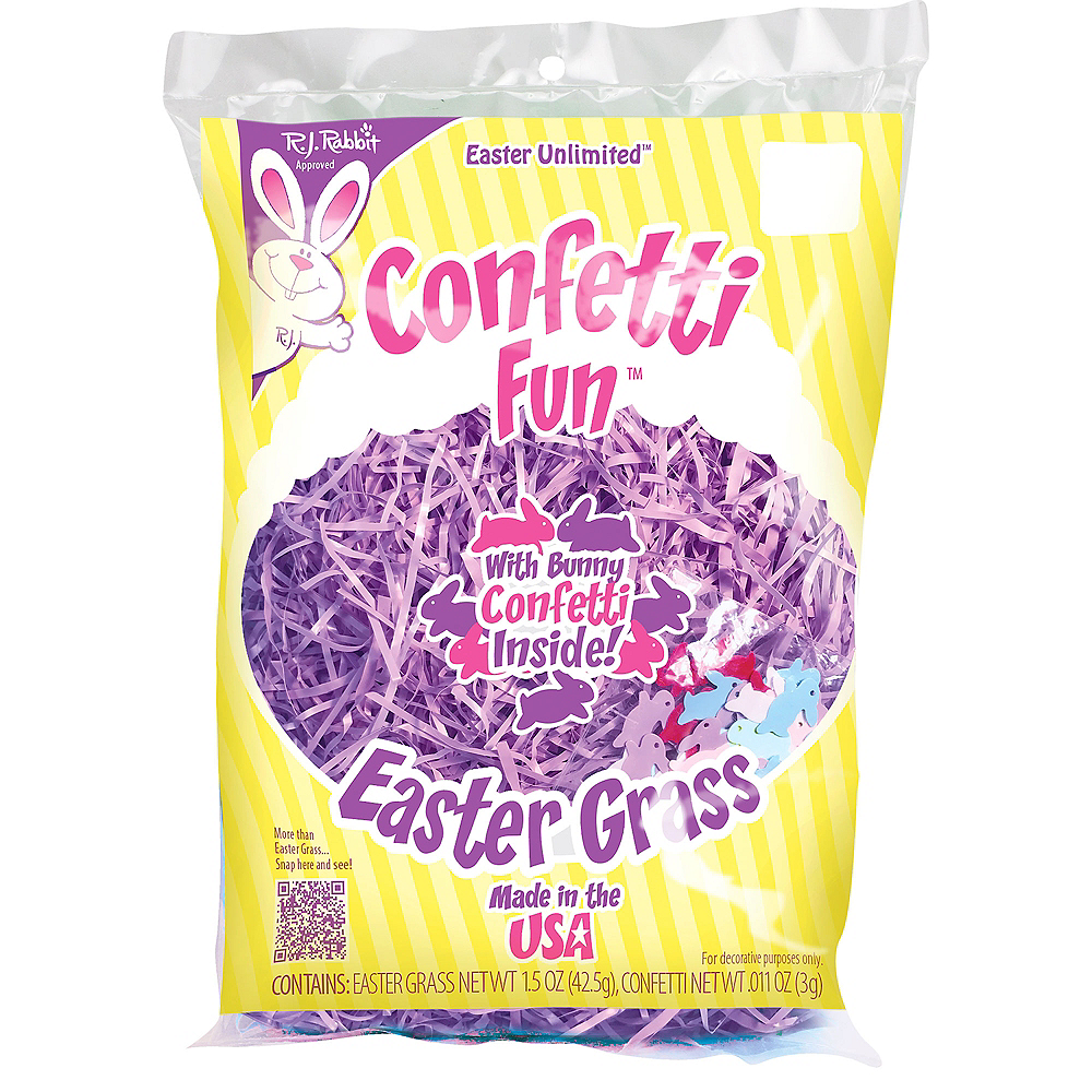 Pink Plastic Easter Grass with Confetti Image #2