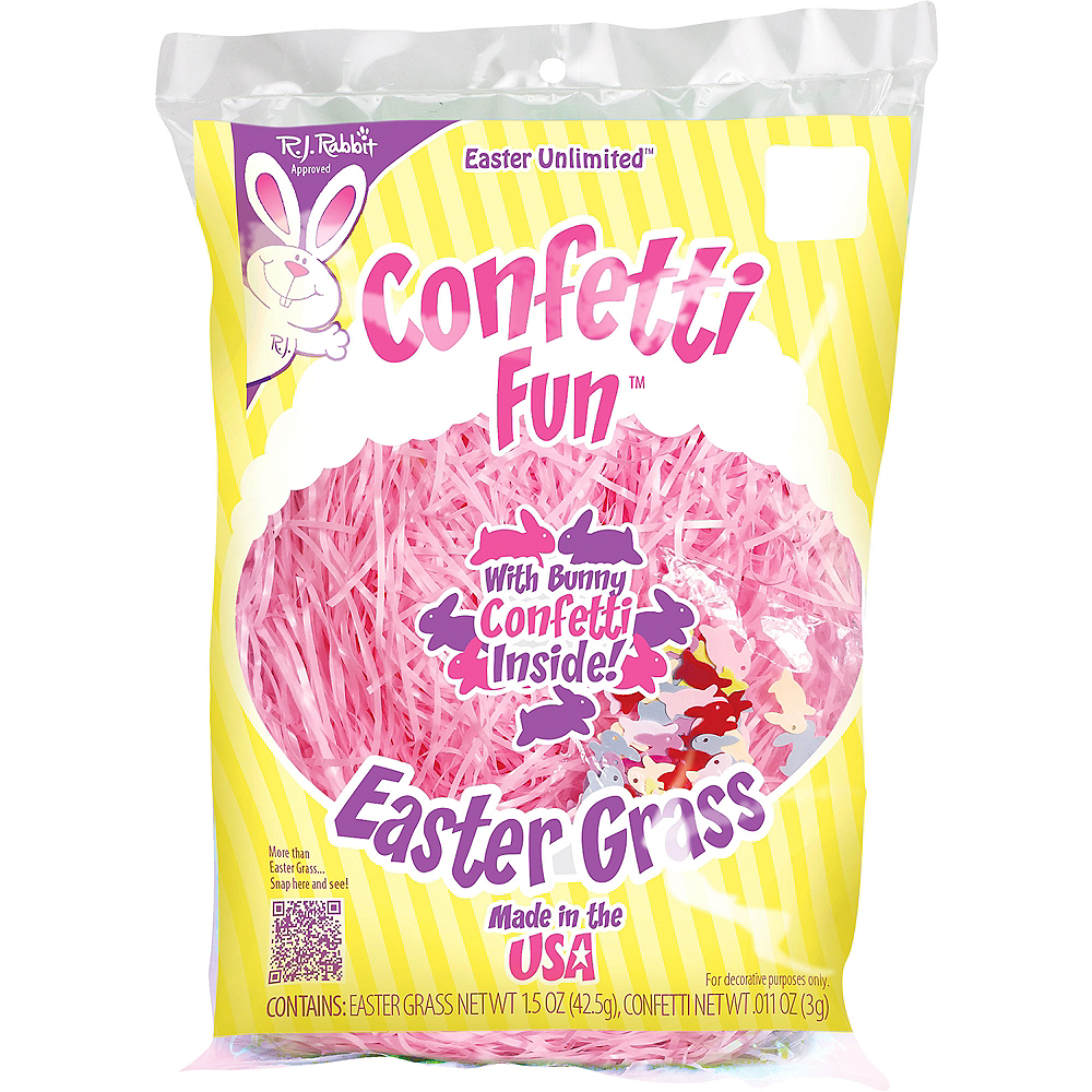 Purple Plastic Easter Grass with Confetti Image #2