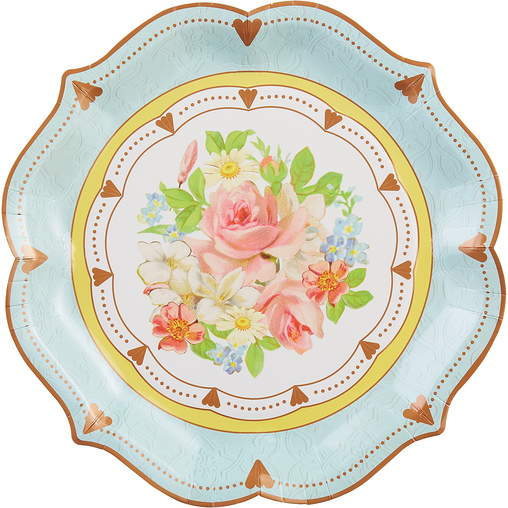 Floral Tea Party Ornate Serving Plates 8ct Image #1