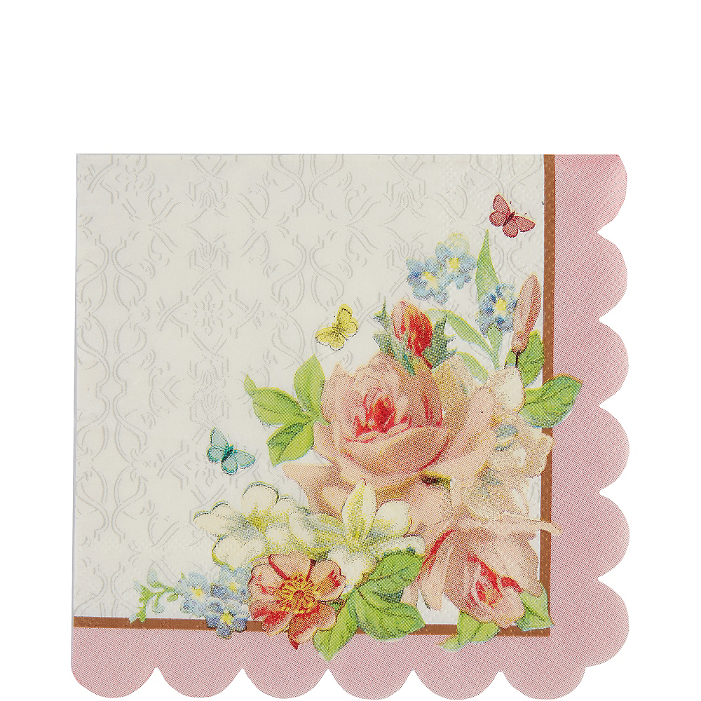 Floral Tea Party Scalloped Lunch Napkins 16ct Image #1