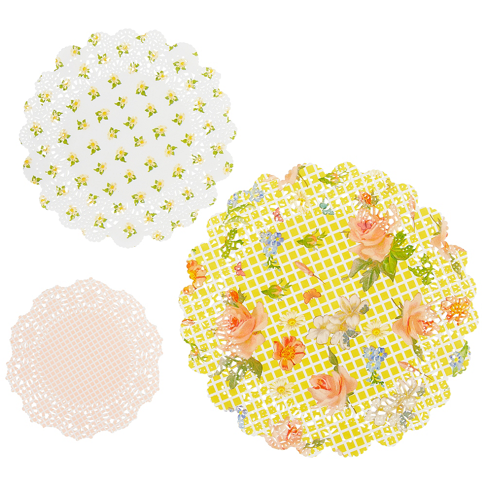 Floral Tea Party Round Doilies 24ct Image #1