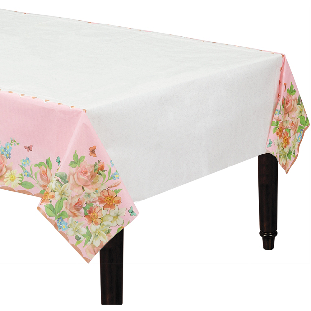 Floral Tea Party Paper Table Cover Image #1
