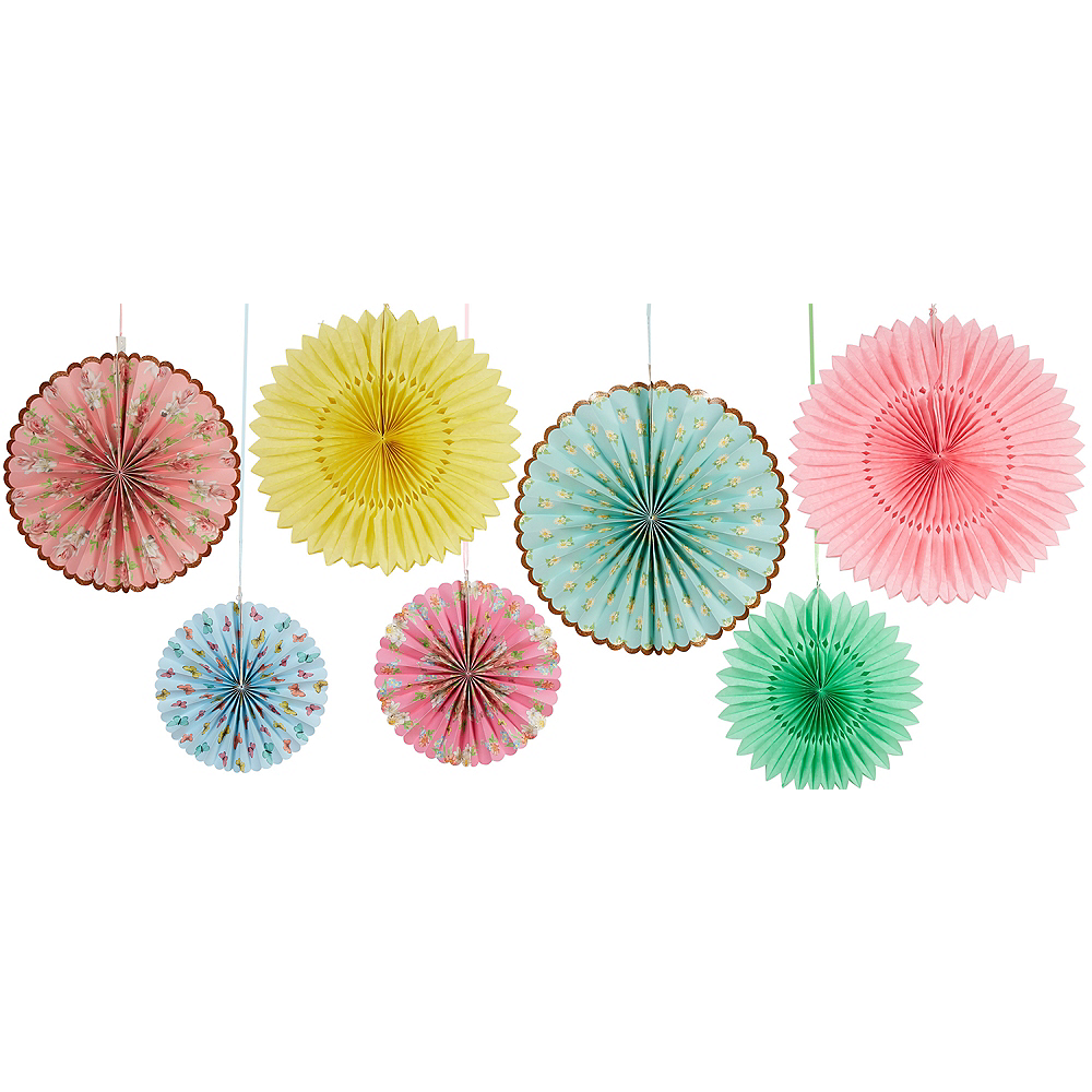 Nav Item for Floral Tea Party Paper Fan Decorations 7ct Image #1
