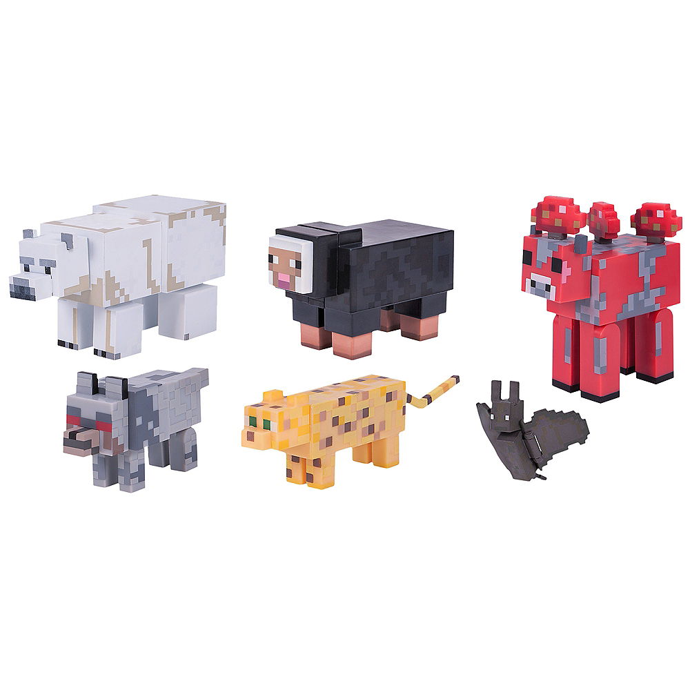 articulated wild animal mobs minecraft playset 6pc party city