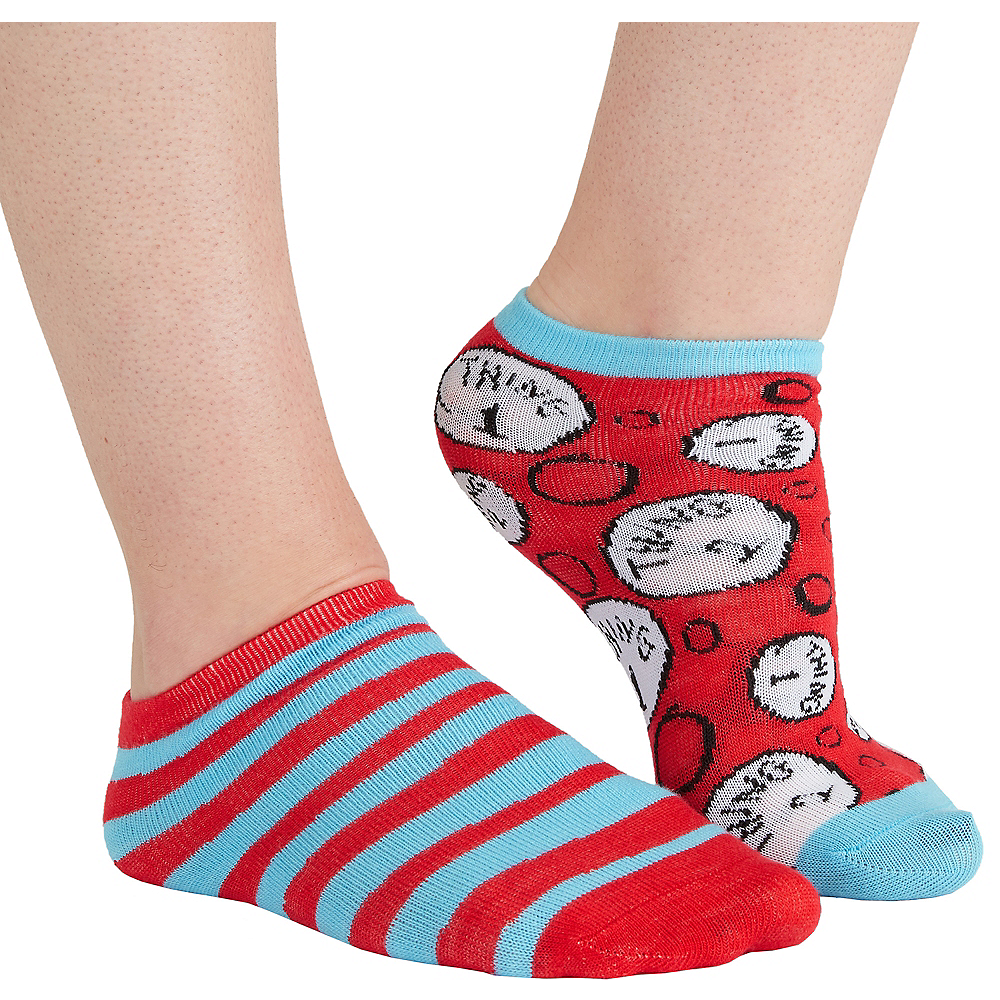 Adult Mismatched Thing 1 & Thing 2 No-Show Socks - Dr. Seuss Image #1