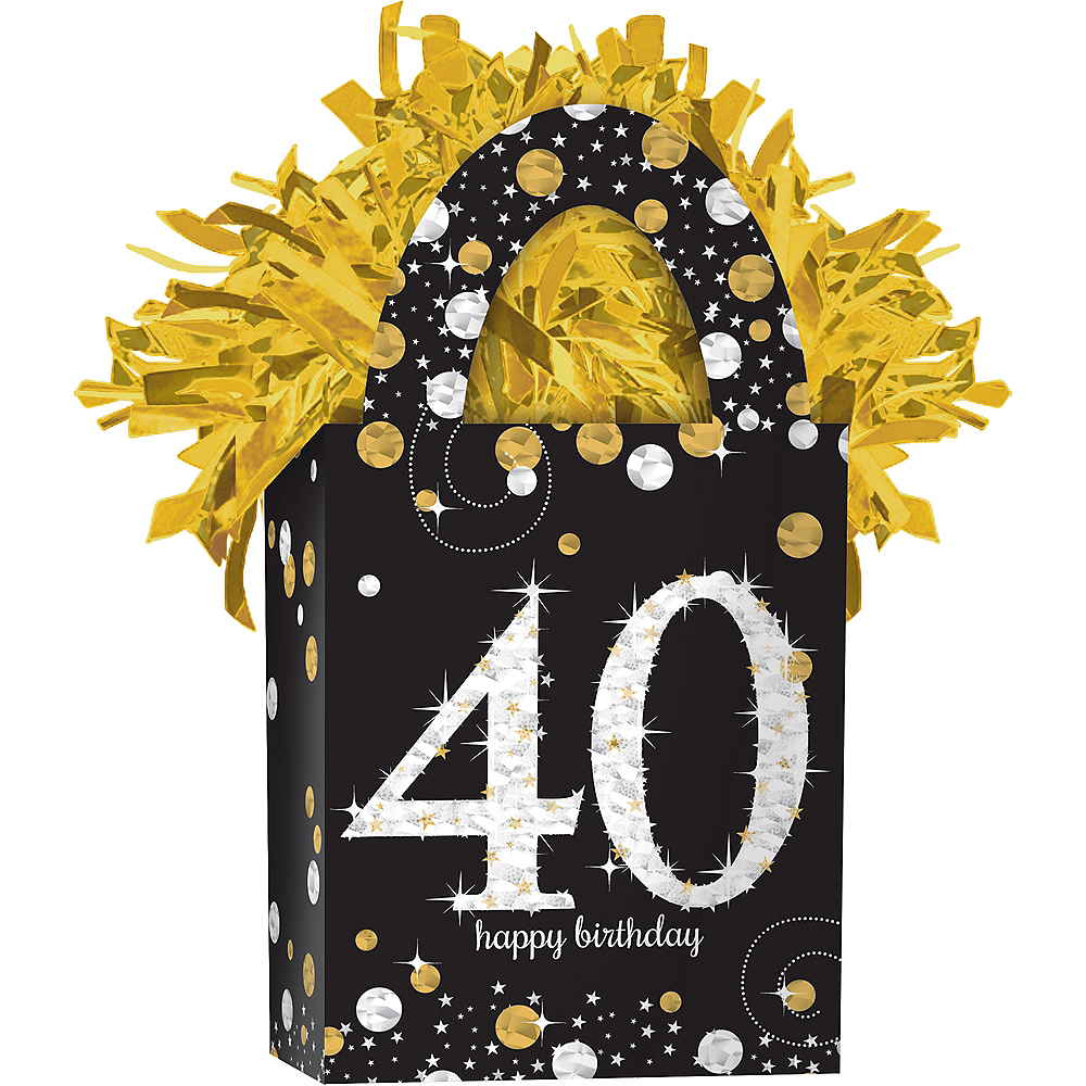 Prismatic 40th Birthday Balloon Weight - Sparkling Celebration Image #1