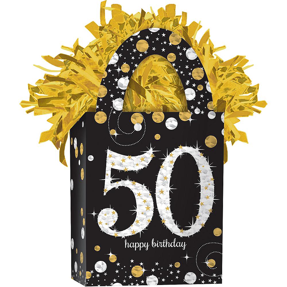 Prismatic 50th Birthday Balloon Weight - Sparkling Celebration Image #1